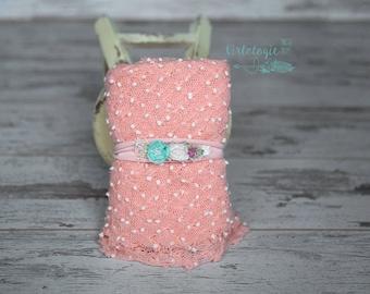 Newborn Wrap Set with 1 Tieback * Blush Pink * Jersey Knit Headband *  Newborn Tieback * Photo Prop * Newborn Wrap * Baby Headband