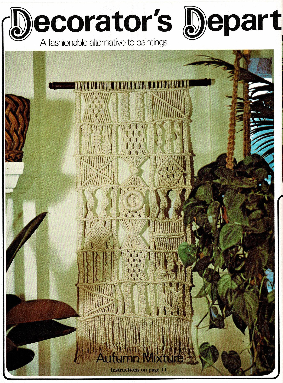Vintage Macrame Pattern Large Patchwork Sampler Wall Hanging