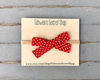 Valentine bow, hand tied bow, baby girl headband, nylon headband, baby headband, school girl bow, baby hair bow, infant headband