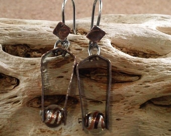 Hammered Stirrup Earrings in Distressed Copper with Textured Sterling Silver Wires Oxidized SRAJD
