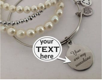 Personalized, Your Text Here, Engraved Charm, Custom, Your Initial, Alex, Your Text, Engraving, Stainless Charm