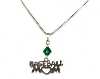 Sterling Silver Baseball Mom Necklace