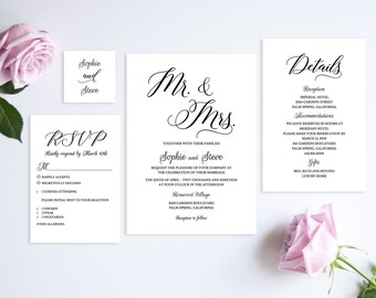 Wedding Invitation Template,Mr and Mrs Wedding Invitation,Wedding Invitation Set,Wedding Invitation Suite,Wedding Invitation Printable,PDF