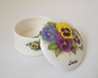 Staffordshire Fine Bone China Pansies Trinket Box 'Louise', Made in England