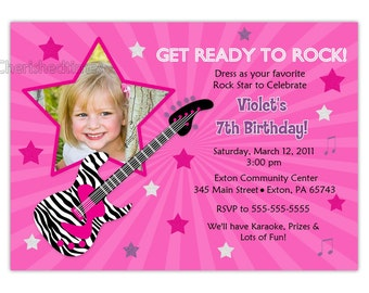 Rock Star Girl Birthday Party Invitation (fichier numérique)