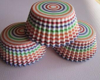 50 Rainbow Striped Standard Cupcake Baking Liners