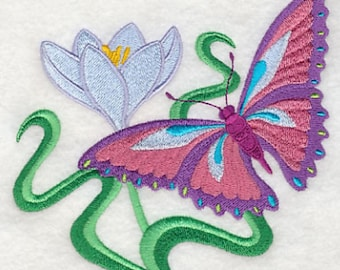 Butterfly and Crocus Embroidered Flour Sack Towel, Butterfly Towel, Crocus Towel, Spring Towel