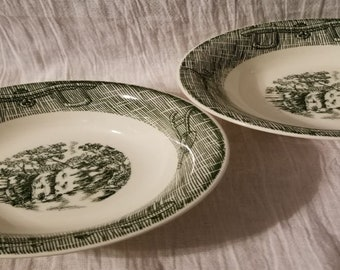 Currier & Ives Green Bowls by SCIO with Waterfall Scene ~ Set of 2