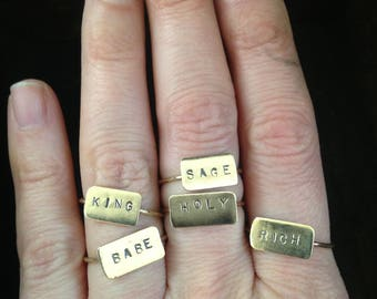 Rich // Brass Stamped Word Ring // Size 8