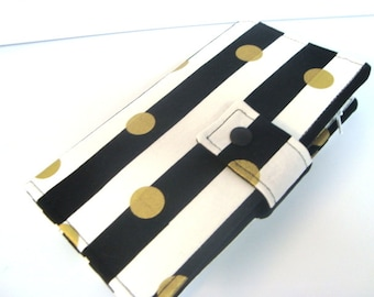 BiFold Long Wallet Cash Envelope Wallet for Dave Ramsey Budget System  Black and White Stripes with Gold Dots