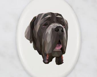 A ceramic tombstone plaque with a Neapolitan Mastiff dog. Art-Dog geometric dog