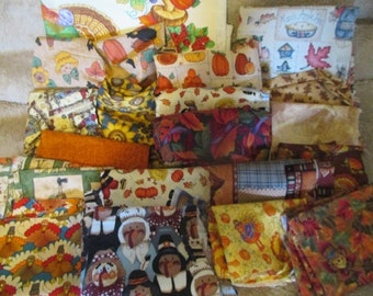 Fall Thanksgiving Themed Fabric Scrap Bundle - Crafts Quilts - 3 lbs