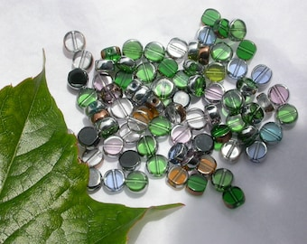set of 24 glass beads silver