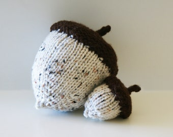 """DIY Knitting PATTERN - Stuffed Knit Acorns for Thanksgiving (in 5"""", and 6.5"""" diameter)"""