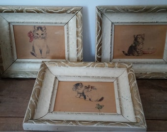 Antique wood frames, kitten illustrations, cats canvas, set of frame, shabby chic, girls room, baby's room, farmhouse decor, antique room