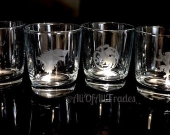Set of 2 Personalized etched GAME OF THRONES glasses