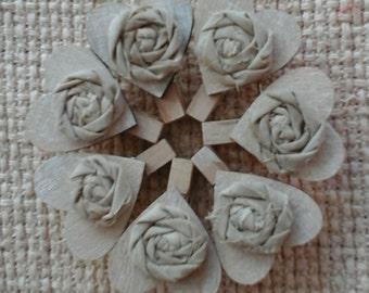10 Rustic Wooden Peg Heart Place Holder Wedding Favor Decor Fabric Rosette
