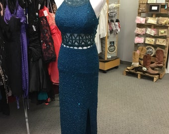Unique Vintage Silk Beaded Gown by Scala in Jade blue