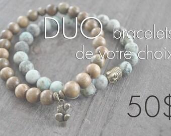 DUO de bracelets - pierres naturelles - bois - commande personnalisée - sauf rose gold - faites votre choix - Coco Matcha
