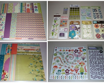 Whimsical Scrapbook Lot and Inspiration Kit - Cosmo Cricket, We R Memory Keepers, Prima, K & Company, Thickers - Paper, Flowers, Stickers