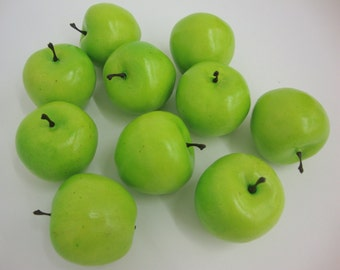 Faux Fruit. Lifelike Miniature, Baby, Green Apples, Fake Display Home Decor. 12 Pieces. *NOT LIFE SIZE*