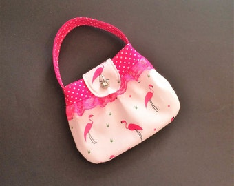 Flamingo Purse, Little Girls Purse, Hot Pink Purse, Easter Purse, Church Purse, Glamour Bag, Dress Up Purse, Girls Handbag, Spring Outfit
