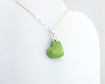 Bright Green Heart Pendant - Simple Heart Necklace - Bright Green Heart Necklace  - Wedding Jewelry, Bridesmaid Necklace - MADE to ORDER