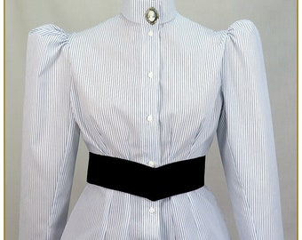 Blue and White Stripe Yarn Dyed Victorian Blouse, Size Medium
