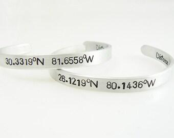 Coordinates Bracelet, Longitude Latitude, Set of 2,  Personalized Aluminum Cuff, Hand Stamped, Skinny Bangle