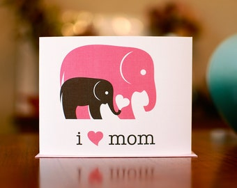I Heart Mom New Baby Card - Gray & Pink Elephants - 100% Recycled Paper