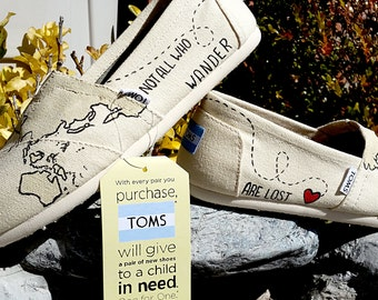 free shipping Custom Painted Wanderlust Not all who wander are lost World Map Canvas TOMS Shoes | World Traveler | wanderlust | Traveler