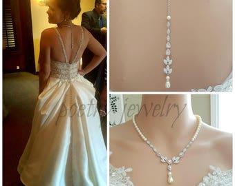 Bridal Backdrop Necklace, Cubic Zirconia and Pearl Necklace, Wedding Crystal Back Drop Necklace, Bridal Back Necklace, Bridal Jewelry, Abby