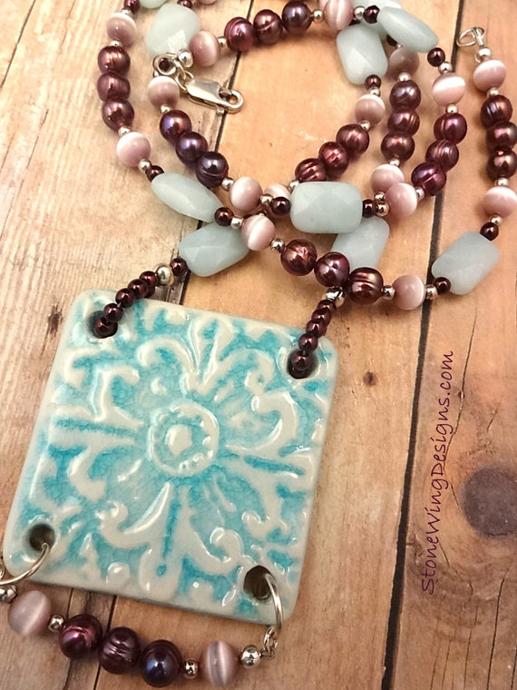 Amazonite, Artisan Ceramic, Mauve Pearls and Lavender Glass Necklace