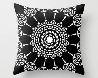 Black and White Mandala Pillow  - Modern Home Decor - Medallion Accent Pillow - Decorative Pillow - By Aldari Home