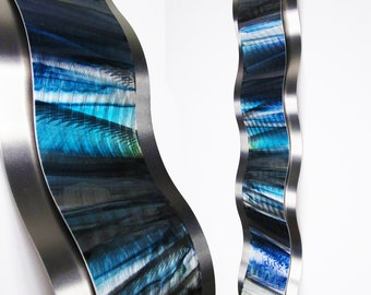 "Blue Metal Wall Art Metal Wall Sculpture Curved Accent Art ""Rythmic Curves"" by Brian M Jones Modern Home Decor Contemporary Blue Art"