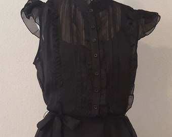 Sheer Ruffle Blouse, Steampunk Style, Steampunk Clothing, Sheer Blouse, Vintage Blouse, Vintage Clothing, Victorian Style