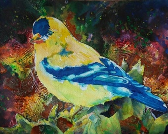 Golden Beauty Original Mixed Media Collage Painting 7 1/2 inches by 11 inches yellow blue birds
