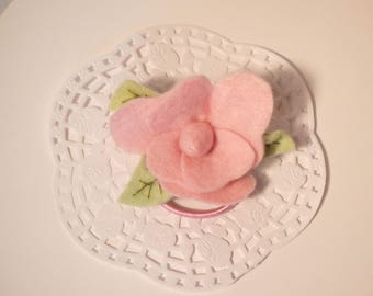 This hair tie for little girl, old pink felt flower