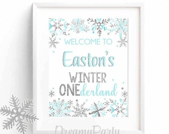Winter Onederland Welcome Sign, Blue and Silver Welcome Sign, 1st Birthday Welcome Sign, Winter Onederland Party, Boy/Girl Digital File.WWS4