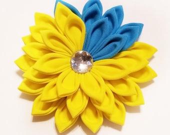 Floral Hair Clip - Yellow Kanzashi Hair Clip - Yellow Hair Clip - Yellow Floral Clip - Yellow Hair Flower - Yellow Kanzashi