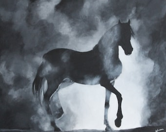"Original acrylic horse painting on canvas 65x54cm From my Collection ""The Phantoms"""