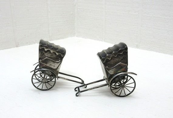 Antique Japanese Mini Rickshaw Salt And Pepper Shakers 1930'S Sterling 950 Silver