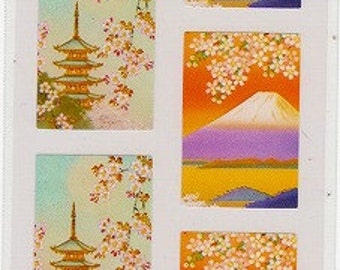 Cherry Blossom Japanese Stickers - Mt Fuji and Temple - Reference U5757B6836-37