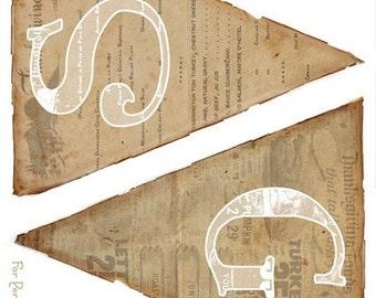 Vintage Happy Thanksgiving Banner PDF DIY Instant Download Printable Party Decoration