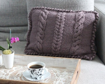 Purple Crochet Decorative Pillow Cover