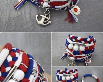 Patriotic Bohemian Bracelet Red White Blue, Multi Strand Gypsy Bracelet Set, July 4th Jewelry Anchor Bracelet