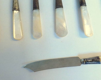 Vintage SHEFFIELD Fish Knives - Lot of ten (10), Mother-Of-Pearl Handles, In one Family for over 50 years, Passover Gift