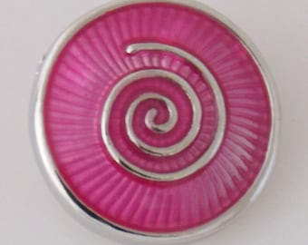 1 PC 18MM Pink Swirl Enamel Silver Candy Snap Charm kb7848 CC3230