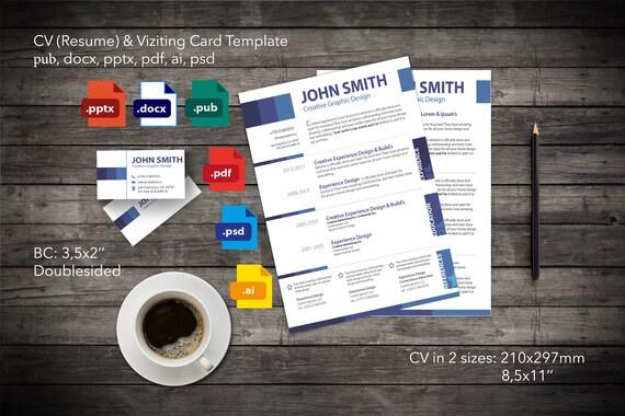Druckbare Lebenslauf / CV Business Business Card Vorlage