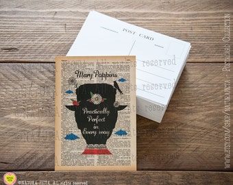 Mary Poppins Practically Perfect Postcard-Invitation card-Note card- 4x6 inches-Stationery card-Thank you card- design by Natura Picta